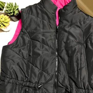 Reversible Black and Pink Puffer Vest
